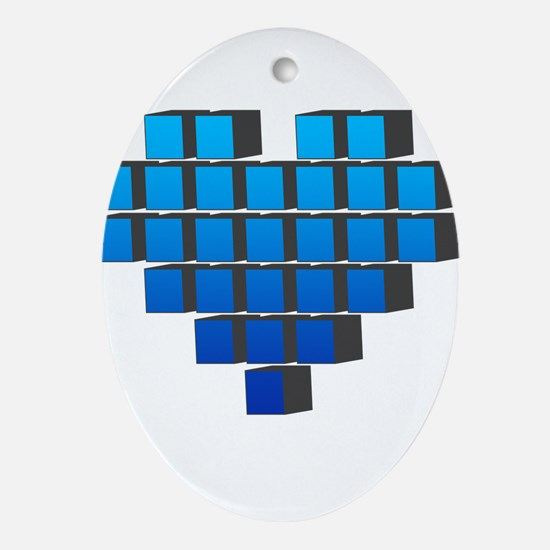 Pixel Heart Ornament (Oval)