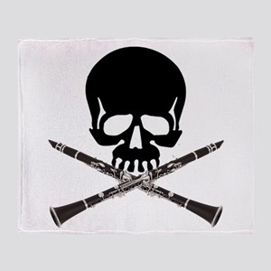 Skull with Clarinets Throw Blanket