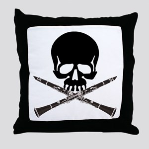 Skull with Clarinets Throw Pillow