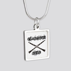 Clarinets Rule Silver Square Necklace