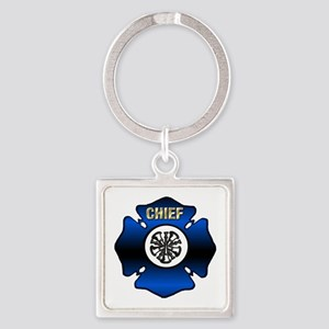 Fire Chief Gold Maltese Cross Square Keychain