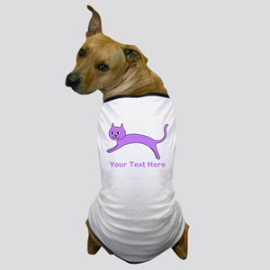 Jumping Purple Cat, Text. Dog T-Shirt
