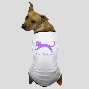 Jumping Purple Cat, Text. Dog T-Shirt