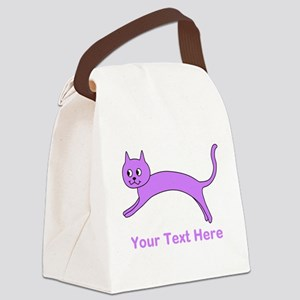 Jumping Purple Cat, Text. Canvas Lunch Bag
