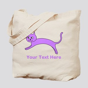 Jumping Purple Cat, Text. Tote Bag