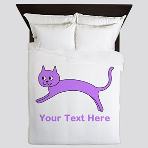 Jumping Purple Cat, Text. Queen Duvet