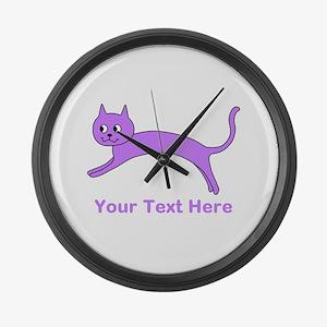 Jumping Purple Cat, Text. Large Wall Clock