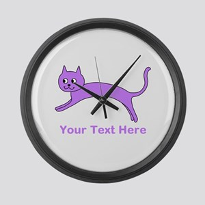 Jumping Purple Cat, Text. Large Wall Clock