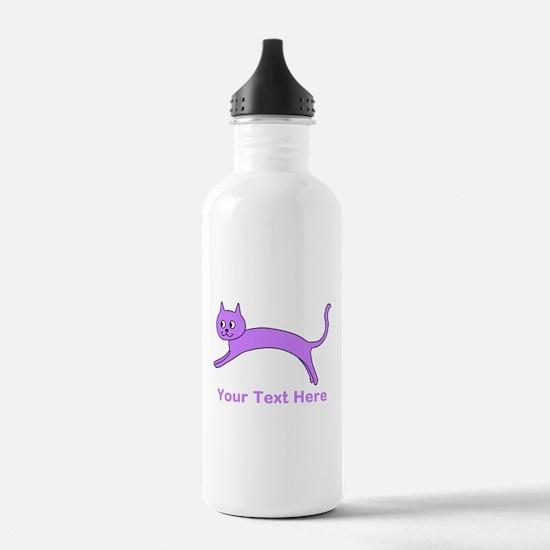 Jumping Purple Cat, Text. Water Bottle
