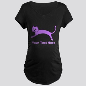 Jumping Purple Cat, Text. Maternity T-Shirt