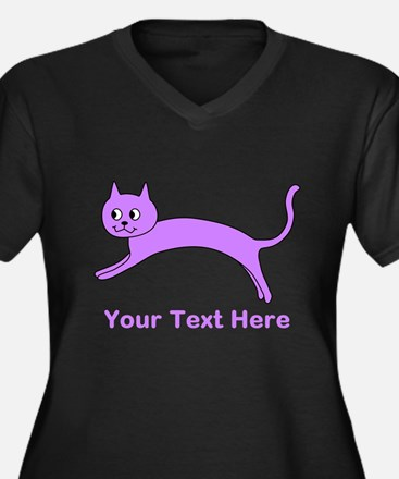 Jumping Purple Cat, Text. Plus Size T-Shirt