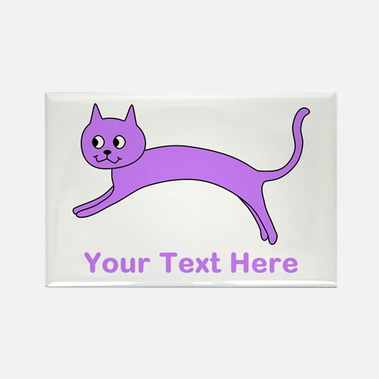 Jumping Purple Cat, Text. Rectangle Magnet