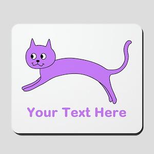 Jumping Purple Cat, Text. Mousepad