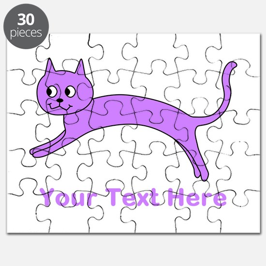 Jumping Purple Cat, Text. Puzzle