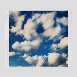 Fluffy Clouds Print Throw Blanket