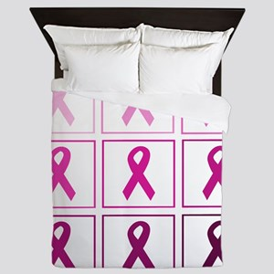 pink ribbon quad Queen Duvet