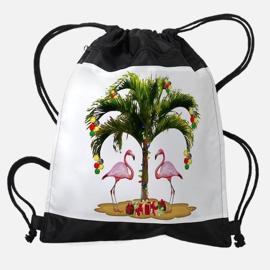 Tropical Christmas Drawstring Bag