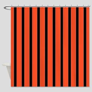 Orange and black Stripes Shower Curtain