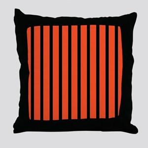Orange and black Stripes Throw Pillow