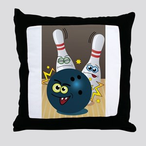 Hilarious Bowling Ball and Pins Throw Pillow