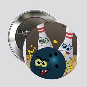 "Hilarious Bowling Ball and Pins 2.25"" Button"