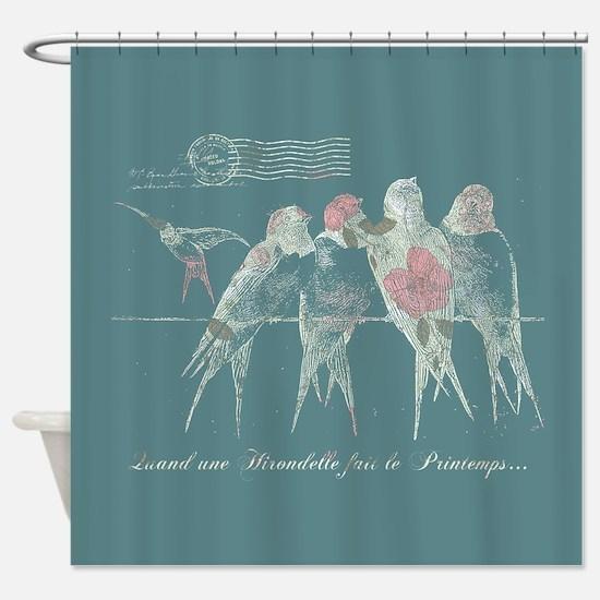 Pretty Birds Vintage Shower Curtain