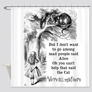 Vintage Alice in Wonderland Cat Shower Curtain