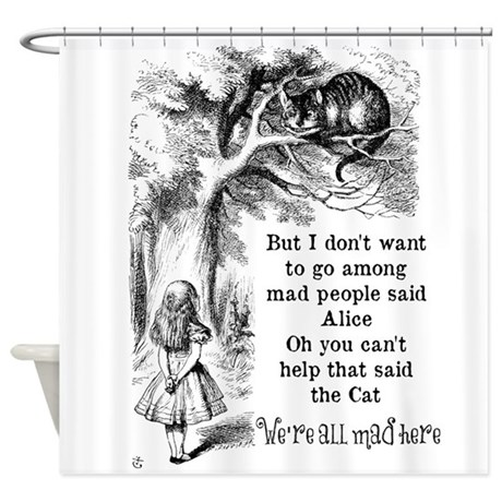 Vintage Alice in Wonderland Cat Shower Curtain by be