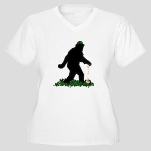 Lucky St Patricks Day Sasquatch Plus Size T-Shirt