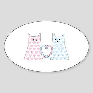 Cats in Love Sticker (Oval)