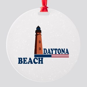Daytona Beach - Lighthouse Design. Round Ornament