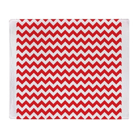 Red and White Chevron Throw Blanket