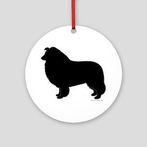 Rough Collie Silhouette Ornament (Round)