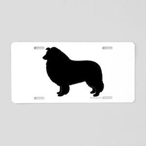 Rough Collie Silhouette Aluminum License Plate