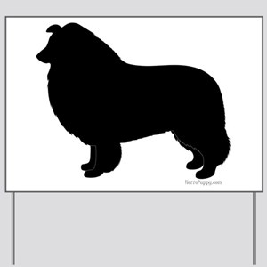 Rough Collie Silhouette Yard Sign