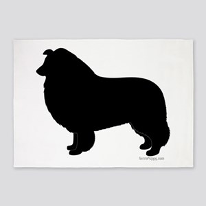Rough Collie Silhouette 5'x7'Area Rug