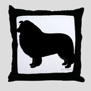 Rough Collie Silhouette Throw Pillow
