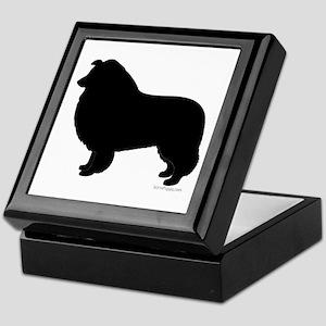 Rough Collie Silhouette Keepsake Box