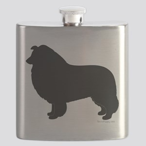 Rough Collie Silhouette Flask