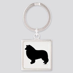 Rough Collie Silhouette Square Keychain
