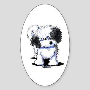 B/W Havanese Cutie Sticker (Oval)