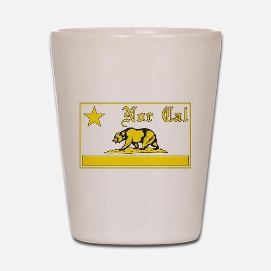 nor cal bear yellow Shot Glass