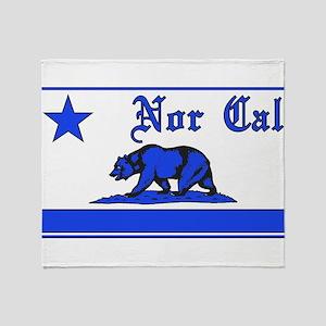 nor cal bear blue Throw Blanket