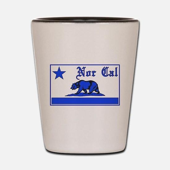 nor cal bear blue Shot Glass