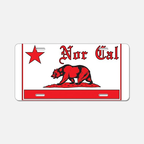 nor cal bear red Aluminum License Plate