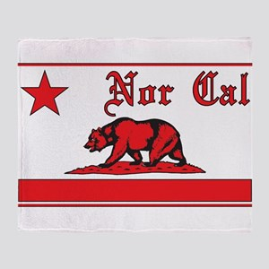 nor cal bear red Throw Blanket