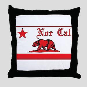 nor cal bear red Throw Pillow