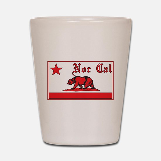 nor cal bear red Shot Glass