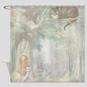 Vintage Alice in Wonderland Cat Shower Curtain