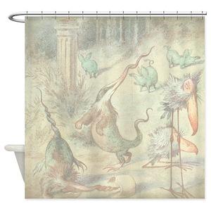 Alice In Wonderland Vintage Shower Curtains